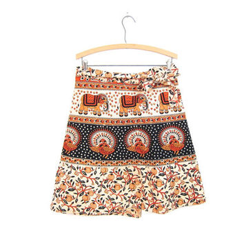 Vintage Indian Wrap Skirt ELEPHANTS BIRDS Ethnic Mini Skirt Orange Black Tribal Floral Skirt PEACOCKS Gypsy Festival Cotton Skirt