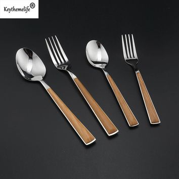 Keythemelife 2pcs/set Japanese Style Dinnerware set Wooden Handle Stainless Steel Spo ons/Forks Tableware Dining Tool Cutlery 6C
