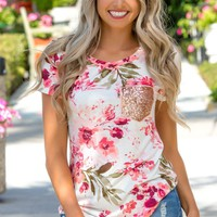 Poised in Pink Floral Short Sleeve Sequin Pocket Top Shop Simply Me Boutique – Simply Me Boutique
