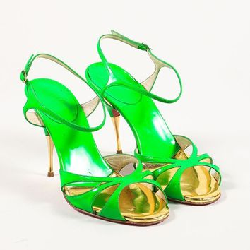 CREYU2C Green and Gold Noeudette Strappy Patent Heeled Sandals