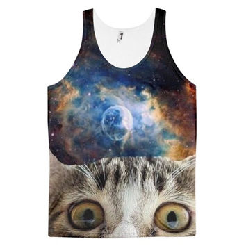Beware Of Cat Space Kitten Cats In Space Universe Kittens Funny Animal Dye Sublimation All Over Print 3D Full Print Cotton Polyester Unisex Novelty Black Blue White & Brown Tank Top