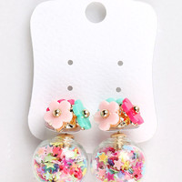 Multicolor Star Decorated Ball And Bead Flower Earrings