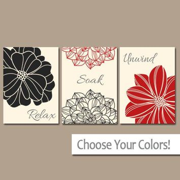 Red Black BATHROOM Wall Art, CANVAS or Prints, Bathroom Decor, Flower Bathroom Wall Decor, Relax Soak Unwind, Bathroom Quotes, Set of 3