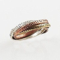 Three Tone Sterling Silver Twisted Ring