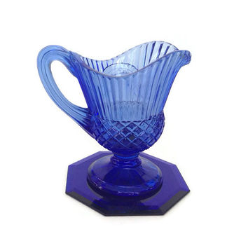Blue Cobalt Glass Creamer, Fostoria Glass - Avon - Mount Vernon Medallion - Bicentennial Edition - Footed - Pitcher - 1970's
