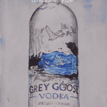 Grey Goose Vodka Watercolor Print. Vodka painting. Grey Goose Painting. Bar wall art. Bar wall art. Vodka picture. Bar decor. Watercolor art