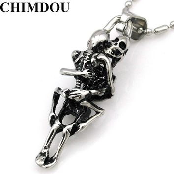 CHIMDOU fashion stainless steel hugging double skeleton skull pendant cross necklace link chain for men jewelry AP123