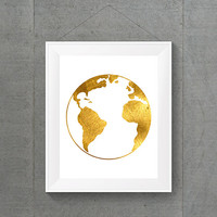Gold Foil Globe, World Globe, World Map, World Map Art, World Map Print, Gold Foil Printing, 8x10 Print