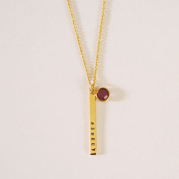 Skinny Bar with Birthstone Necklace
