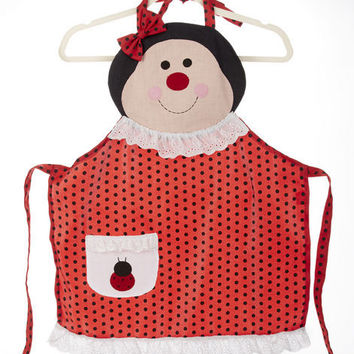 Little Girls - Childrens Apron in Ladybug
