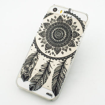 """Clear Plastic Case Cover for iPhone 6 (4.7"""") Black Henna Ojibwe Dreamcatcher tribal dream catcher mayan aztec ethnic american indian"""