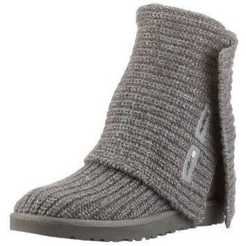 UGG Australia Women's Classic Cardy Knit Sheepskin Fashion Boot Grey 5 M US UGG Austr
