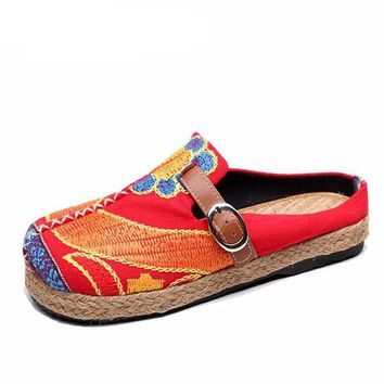 Casual Ladies Linen Cotton Loafers