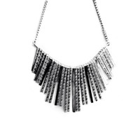 Silver Trendy Elegant, Evening Metal Necklace / Spike /Tasseles / Choker / Collar / Edgy / Metal beads / Beaded Statement necklace