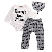 Kids Newborn Baby Boy Romper Tops +Letters Long Pants Hat Outfits Clothes