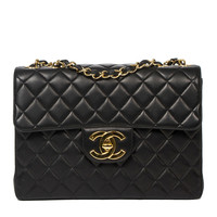 Chanel Jumbo Black Quilted Leather