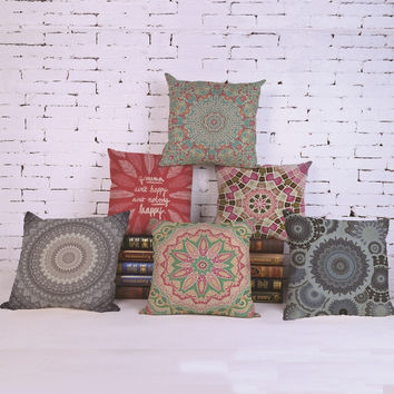 18 Inches Bohemian Style Geometric Pattern Cotton Linen Cushion Cover Pillowcase Chair Waist Throw Pillow Cover Home Decoration