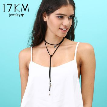 17KM 2016 New Fashion Long Black Leather Rope Tube Choker Collar Necklace Women Collier Bijoux Accessories Chain Jewelry
