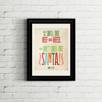 Buddy the Elf You Smell Like Beef & Cheese! Printable Art INSTANT DOWNLOAD Typographic art in bright colors #christmas #holiday #buddytheelf