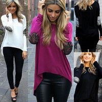 Casual Long Sleeve Asymmetrical Sweat Shirt