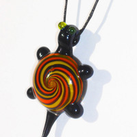 Glass Turtle Pendant Necklace Glass Jewelry in by InspiredGlassArt