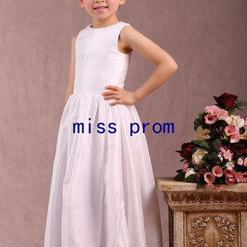 Taffeta pearls neckline tea-length zipper back flower girl dress