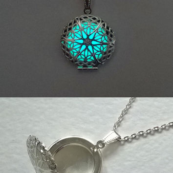 Aqua Locket Necklace - Gift For Mom - Wife Gift - Gifts For Her - Glowing Photo Locket - Picture Locket - Mothers Day Gift - Mom Gift