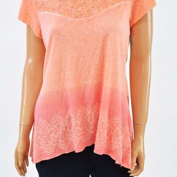Style&co Women Flutter-Sleeve Stretch Orange Lace-Detail Hi-Low Blouse Top S