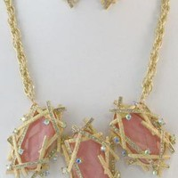 Pink & Rhinestone Embellished Gold Statement Necklace