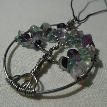 Fluorite Tree of Life pendant-necklace-handmade jewelry