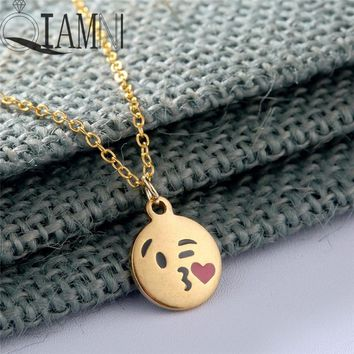 QIAMNI Cartoon Love Heart Kiss Emoji Necklace & Pendant for Women Round Expression Love Choker Collars Handmade Jewelry Gifts