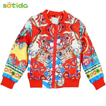 New Girls Outerwear 2016 Brand Winter Grils Coats Cotton Long Sleeve People Model Pattern Design Kids Clothes for Girls Jacket
