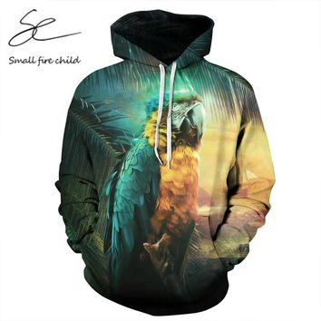 Cool Hooded Hoodies Print Parrot 3d Sweatshirts With Hat Men/Women Autumn Thin Couple Tops Pullovers Tops