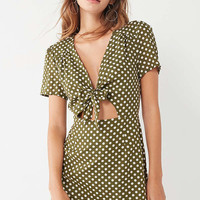 Kimchi Blue Bow-Front Cut-Out A-Line Polka Dot Mini Dress | Urban Outfitters