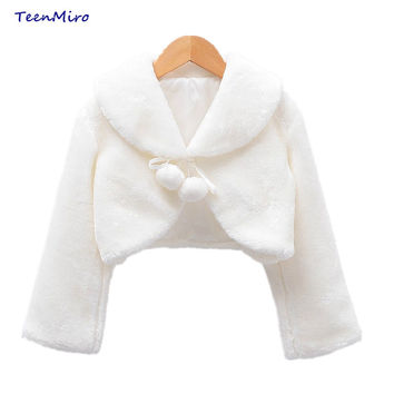 Kids Flower Girls Coats Clothes Wedding Costume Cape For Girl lined Sweater Ballerina Wrap Outwear Fur Crossover Top Poncho