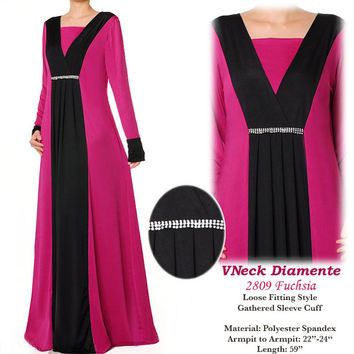 2809 Diamente Islamic Robe Abaya Long Sleeves Maxi Dress - Plus Size 1X/2X Fuchsia