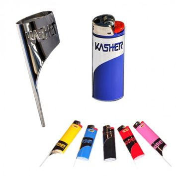 Kasher - Silver Pipe Poker Sleeve with Bic Lighter