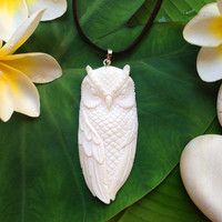 Owl Pendant Hand Carved Bone with Sterling Siver bale - Owl Spirit Animal