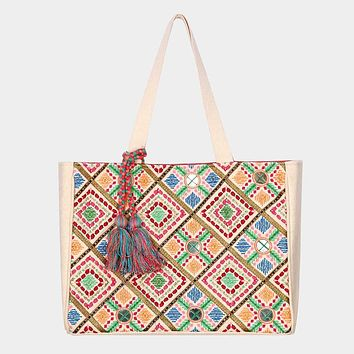 Pattern Embroidery Tassel Tote Bag