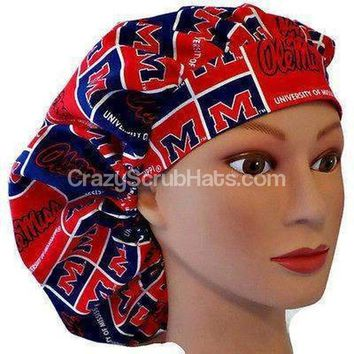 "Women's Bouffant, Pixie, or Ponytail Surgical Scrub Hat Cap in Mississippi Rebels ""Ole Miss"""