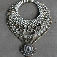 Statement Necklace - Handcrafted: Rickly. Silver and Bronze crystal layered stacked rhinestone ethnic bohemian necklace