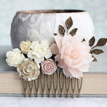Blush Bridal Hair Comb Nude Neutrals Comb Ivory Cream Rose Soft Pink Ecru Floral Hair Piece Vintage Inspired Romantic Wedding Gold Rose Comb