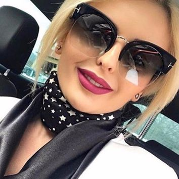 OUTEYE Half Frame Butterfly Sunglasses Women Oversized Mirror Sun Glasses Female Retro Summer Oversized Glasses Gafas De Sol Q2