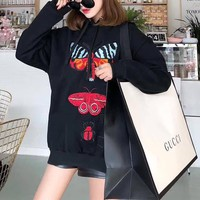 """""""Gucci"""" Fashion Embroidery Butterfly Insect Pattern Loose Long Sleeve Hooded Sweater Women Casual Tops"""