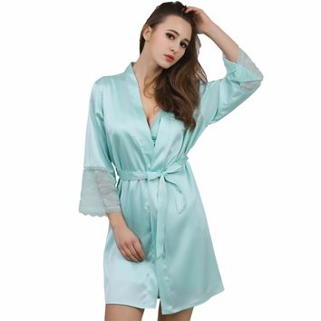 Lace sleeve sexy women nightwear robes plus size wedding kimono satin silk female bathrobes bridemaids robes 2017 vs brand hot