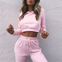 Hot Sale Summer Women's Fashion Hats Crop Top Pants Sportswear Set [498356944942]
