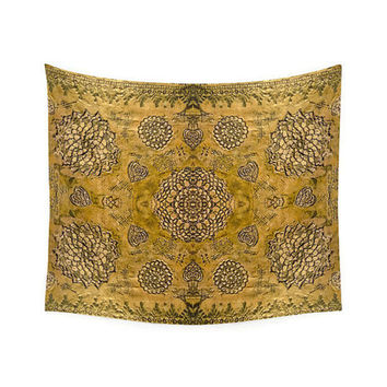 Wall Tapestry, Bohemian decor, boho tapestry, hippie wall decor, picnic blanket, beach blanket, sofa throw, gold decor, floral wall hanging
