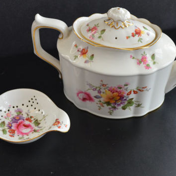 Royal Crown Derby Posies Teapot and Strainer Bone China Porcelain Set