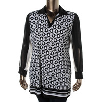 Style & Co. Womens Patterned Slash Neck Tunic Top