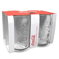Coca-Cola 12-Ounce Embossed Clear Glass Can (Set of 4)